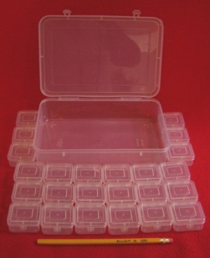 24 Small Storage Boxes. Plastic Boxes